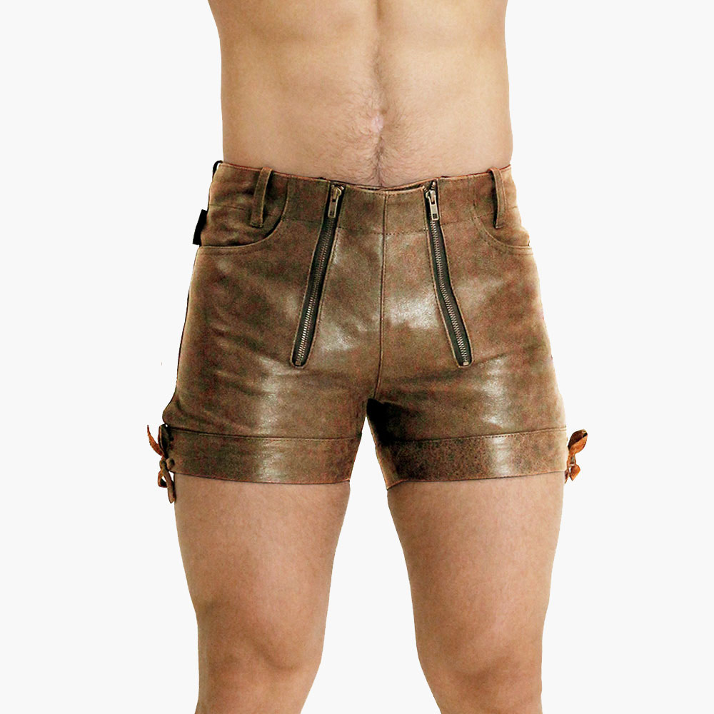 Brown-Leather-Shorts
