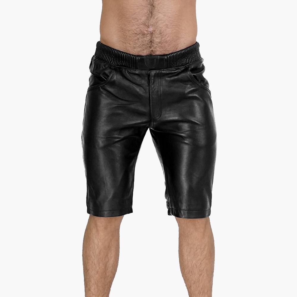Mens-Black-leather-Shorts