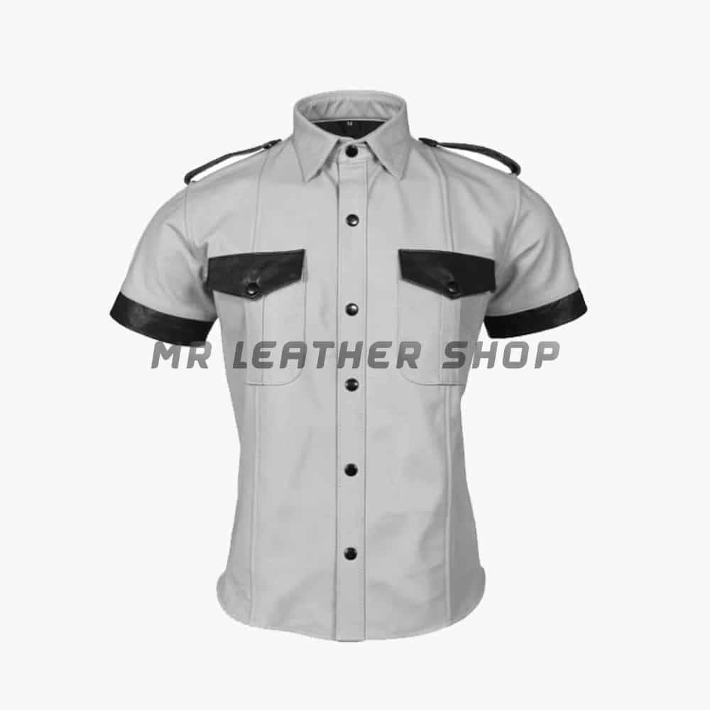 White Leather Shirt