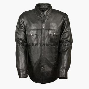 Black Leather Long Sleeve Shirt