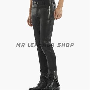 Mens Black Leather Jeans