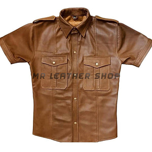 Men's Brown Leather Shirt
